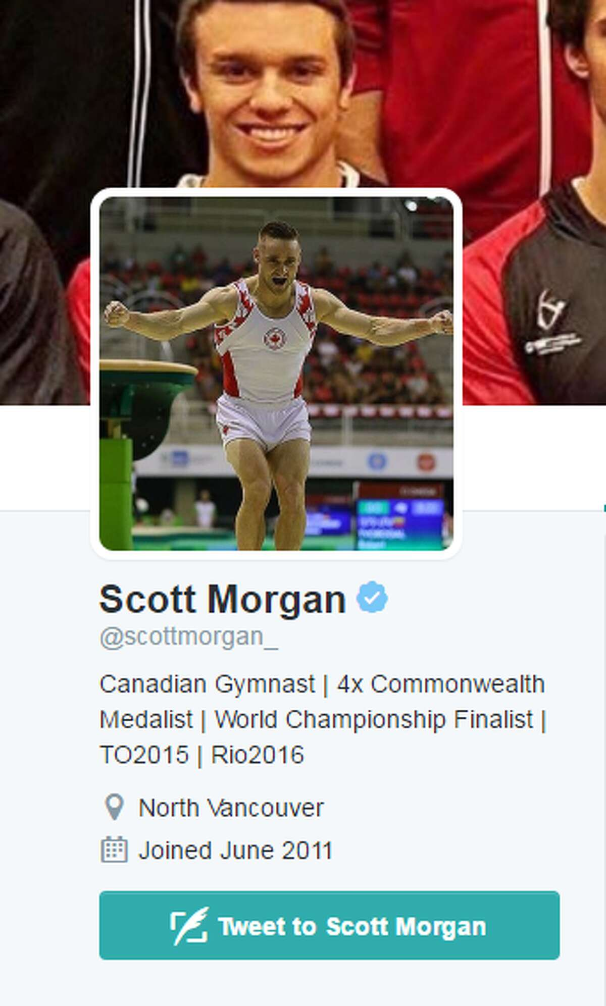Scott Morgan, Canada Gymnastics Headed to his first Olympics, Morgan will be Canada's sole men's artistic gymnast in Rio. Morgan was Canada's second-most decorated athlete in the 2014 Commonwealth Games where he won four medals including two gold medals.