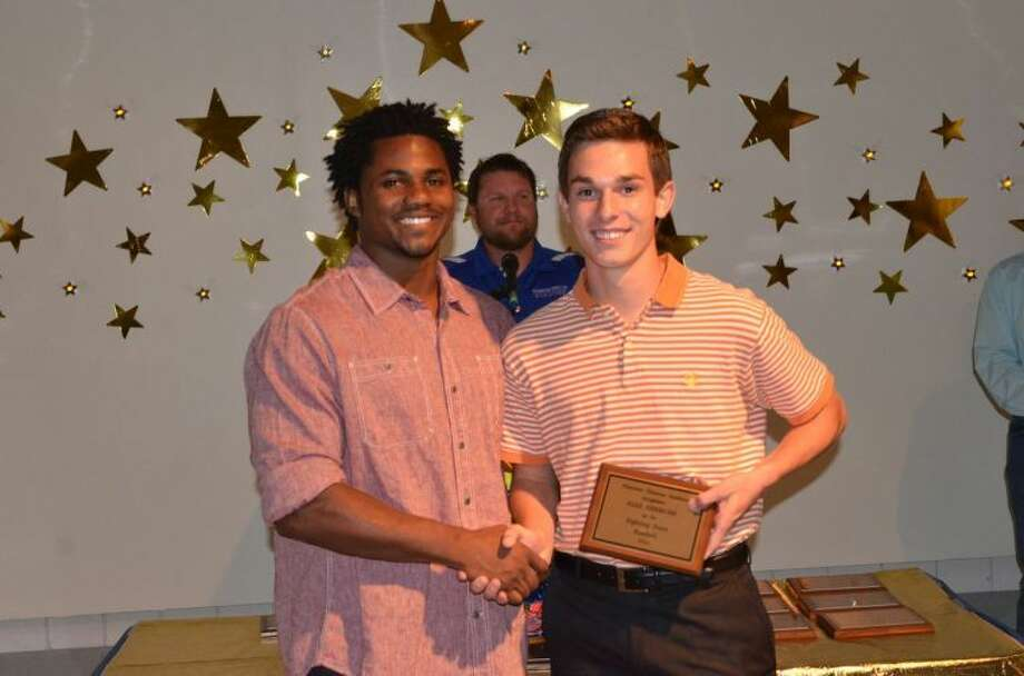 PCA football Fighting Heart Award winner Alex Sisemore (right) with Baron Batch. Photo: Photo Courtesy Of Cathy Landtroop