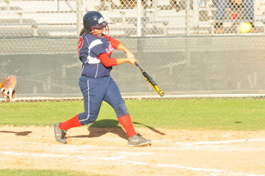 The ball jumps off the bat of Plainview's Aubrey Enriquez as the senior connects for a home run in the area round of the playoffs against Canutillo last weekend. Enriquez and her teammates will battle El Paso Chapin in the Region 1-4A quarterfinals in Odessa Friday and Saturday. Photo: Skip Leon/Plainview Herald