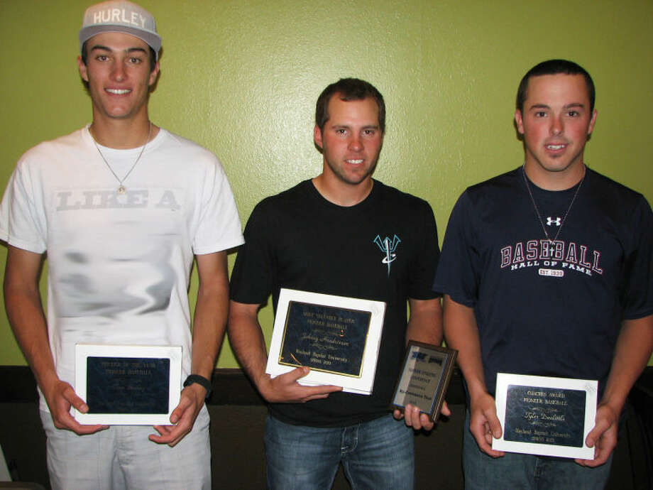 Honored at a Wayland baseball luncheon on Wednesday were (from left) Tom Bailey, Pitcher of the Year; Johnny Hendrixson, MVP, Batting Champion and Players' Choice Award; and Tyler Doolittle, Coaches' Award. Photo: Kevin Lewis/Wayland Baptist University