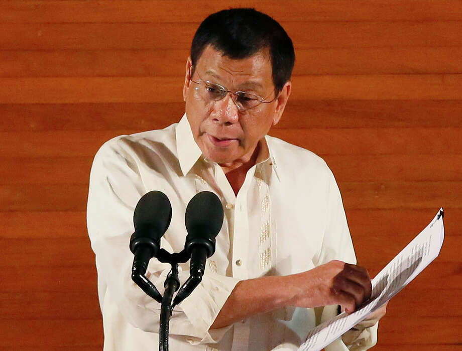 Philippine President Rodrigo Duterte delivers his first State of the Nation Address (SONA) before the joint session of the 17th Congress Monday, July 25, 2016, at suburban Quezon city northeast of Manila, Philippines. (AP Photo/Bullit Marquez) Photo: Bullit Marquez, STF / Copyright 2016 The Associated Press. All rights reserved. This material may not be published, broadcast, rewritten or redistribu