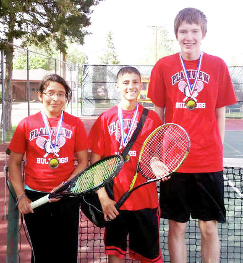 Plainview's Laura Montoya won the consolation bracket in girls singles while Dylan Flores (center) and Parker Adamson placed second in boys doubles at a junior high tournament in Amarillo on Saturday.SAMSUNG Photo: Courtesy Photo