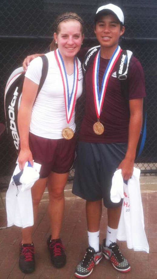 Tulia's Madison Hoelting (left) and Carlos Subealdea won the first tennis state championship in school history with a three-set victory in the Class 2A mixed doubles championship match in College Station Tuesday. Photo: Photo Courtesy Of Kimberly Hoelting