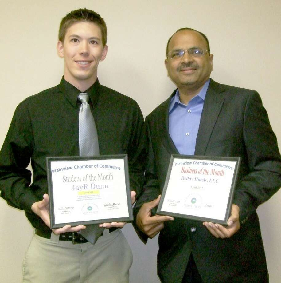 Wayland senior JayR Dunn (left) was named Student of the Month while Reddy Hotels, represented by G.K. Reddy, was named Business of the Month by the Plainview Chamber of Commerce. Dunn, of Kemah, is Mr. Wayland 2012 and co-director of the Apostolos High School Mentoring Program. A religion major with a specialization in intercultural missions, Dunn was named to the President's List and received the Rev. William Mason Memorial Endowed Scholarship. He serves as youth pastor at First Baptist Church in Hale Center.
