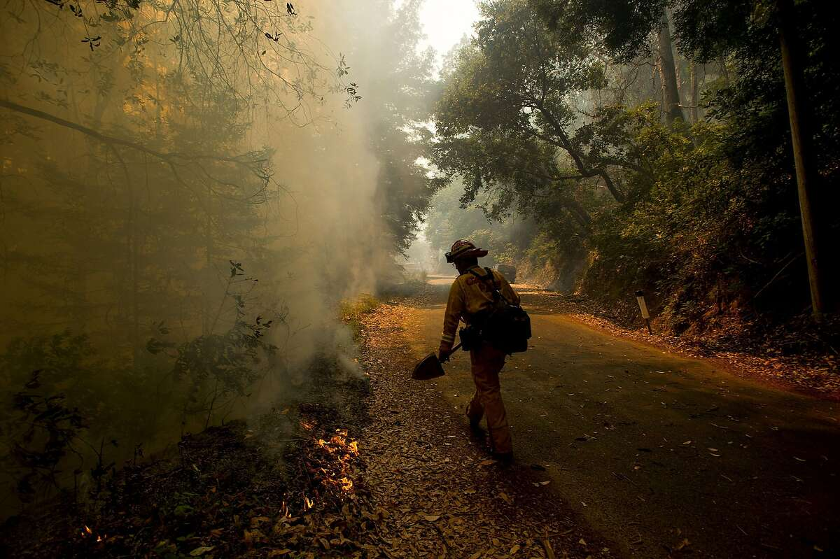 Firefighters Capt. Andrew Peterson monitors flames on Palo Colorado Road while battling the Soberane Fire on Monday, July 25, 2016, near Big Sur, Calif.