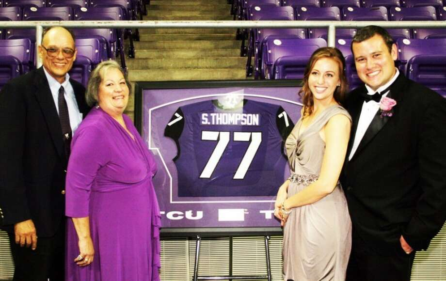 Spencer Thompson at the TCU football banquet with his fiancée Julia Slater and parents, Jim and Susan. Thompson was selected by his teammates for the Abe Martin Leadership Award. Photo: Courtesy Photo