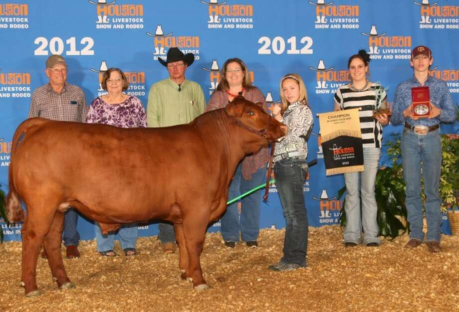 """Courtesy PhotoSterling Rein Skinner exhibited the Breed Champion Maine Anjou steer at the Houston Livestock Show and Rodeo. Skinner, 13, is a seventh grader at Coronado Junior High and a member of Plainview FFA. She purchased her steer, """"Red,"""" from her uncle and cousin, Dudley and Stormie McClurg of Tulia. Pictured with Skinner are (from left) grandparents Weldon and Barbara McClurg of Tulia, parents Russell and Misty Johnson of Plainview, cousin Stormie McClurg and brother Kelton Skinner. Other grandparents are Rick and Sheila Skinner of Tulia."""