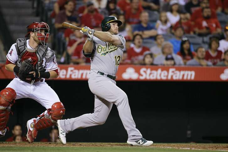 Oakland Athletics' Max Muncy during an at bat against the Los Angeles Angels in a baseball game Saturday, June 25, 2016, in Anaheim, Calif. (AP Photo/Gregory Bull)