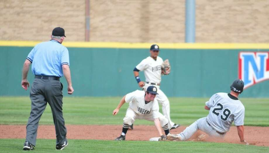 Calvin Bass tags out a Southern Nazarene runner attempting to steal second base in the Pioneers' final series at home this season. Four seniors, including Bass, played their last games at Wilder Field this weekend. Photo: Summer Morgan/Plainview Herald