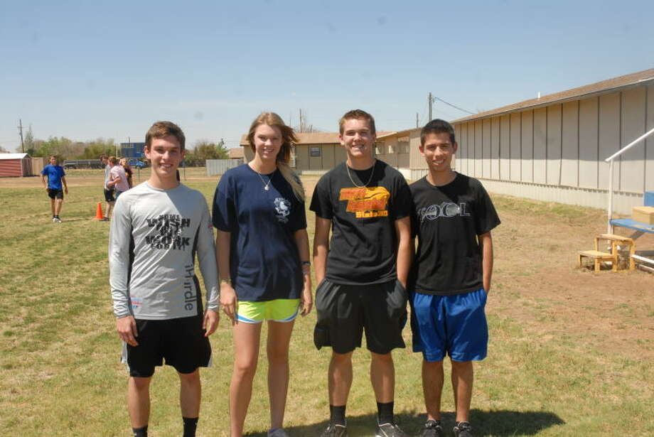Five Plainview Christian athletes wrapped up their track season with authority by placing at state championship meet. Pictured above from left to right is hurdler sophomore Alex Siesmore, high jumper Claudia Lusk, shot putter and discus hurler Tanner Morton and long-distance runner Edgar Martinez. Not pictured is senior long jumper Tyler Covington. Photo: Homer Marquez/Plainview Herald