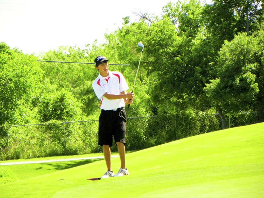 Courtesy Photo by Betsy LewisPlainview High senior Tim Gonzales chips during a round a Diamond Back Golf Course in Abilene, site of the Region I-4A Tournament. Gonzales shot a 78 in Monday's first round and Plainview came in with a 316 to stand in sixth place going into today's final 18 holes.