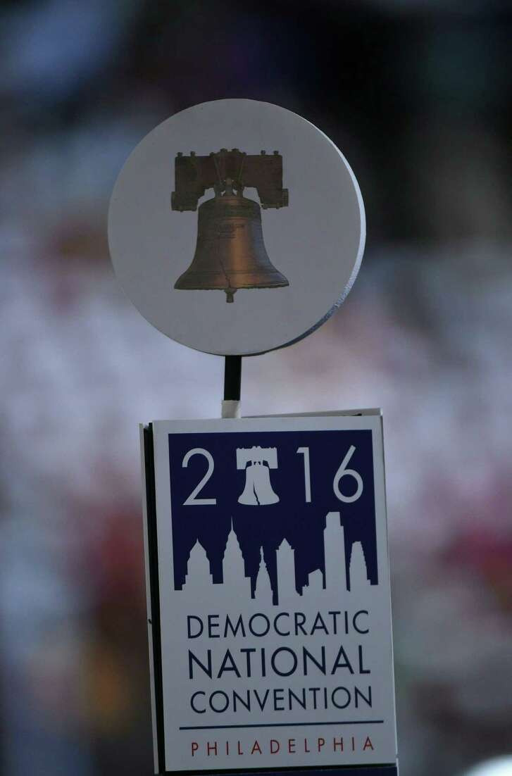 The Liberty Bell sits above a sign for the Democratic National Convention at the start of Day 1 of the Democratic National Convention at the Wells Fargo Center in Philadelphia. (AFP/Getty Images)
