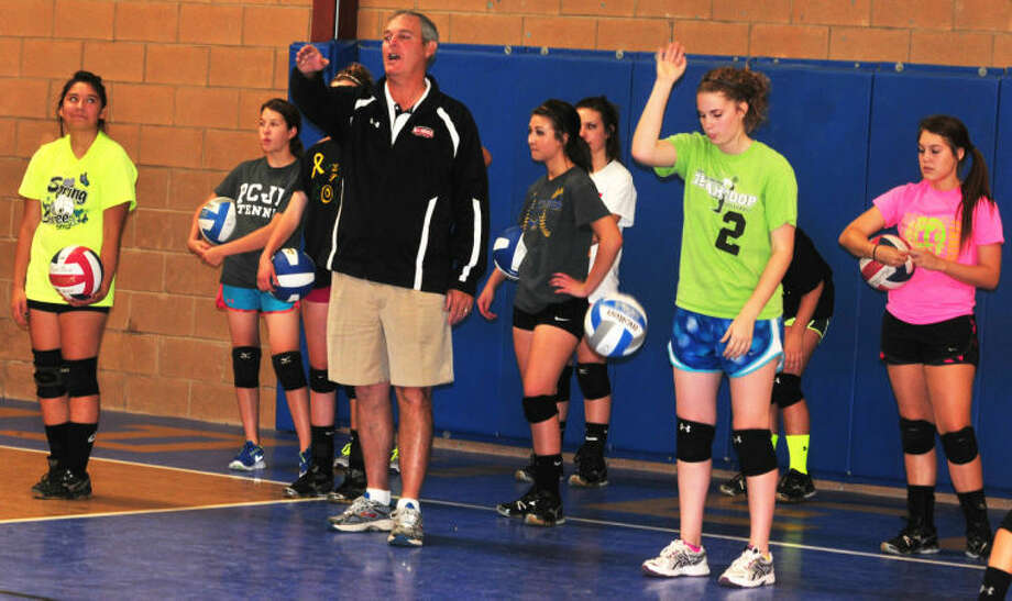 Wayland Baptist University volleyball coach Jim Giacomazzi makes a point during a volleyball camp at Plainview Christian Academy Wednesday afternoon. The camp began Monday and will run through Friday. Photo:  Skip Leon/Plainview Herald
