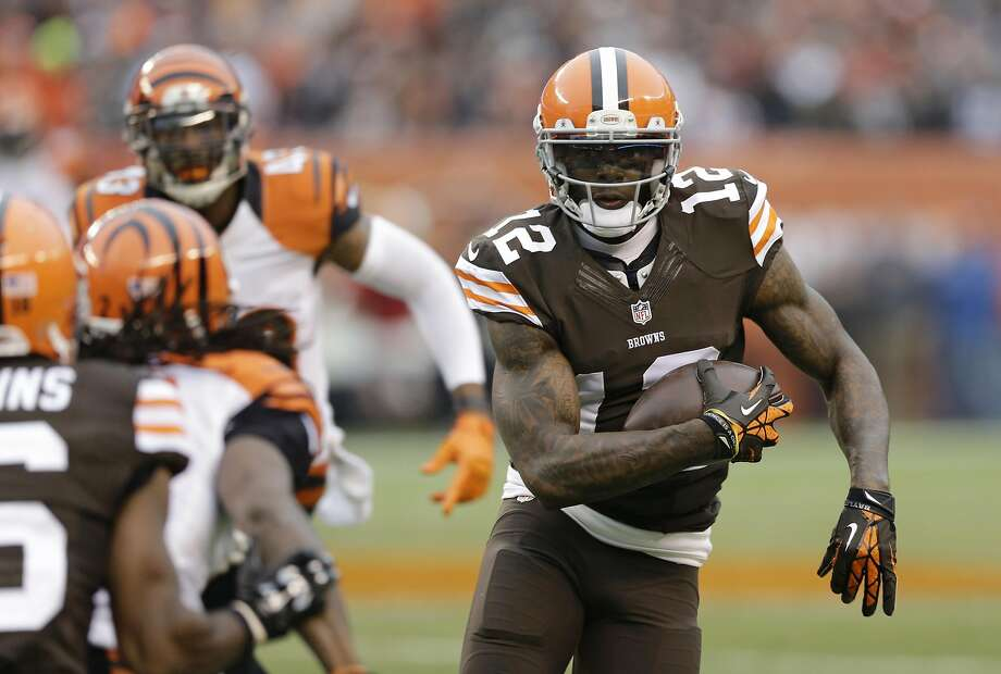 Wide receiver Josh Gordon, seen with the Browns in a 2014 game against the Bengals, has been suspended since 2015. Photo: Tony Dejak, Associated Press