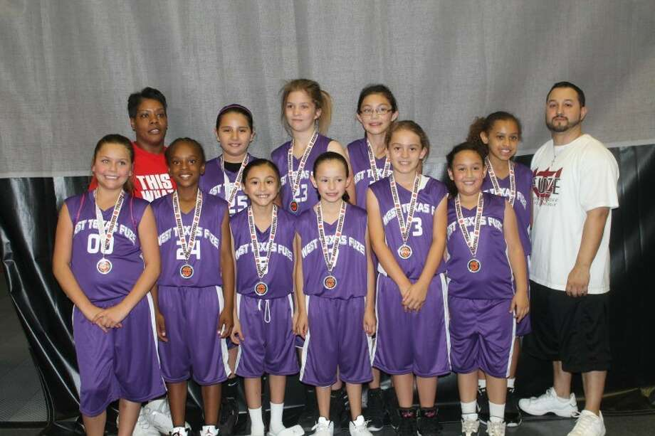The Fuze third- and fourth-grade team captured the championship at the recent Amarillo Hoop 10 Tournament. Members are (back, from left) coach Trina O'Neal, Jackie Banda, Kylee Bennett, Natalie Holmes, Olsen Ellis, assistant coach David Sigala; (front): Aspen Miller, Aniya Rhonden, Julissa Chavez, Tiffany Medina, Krista Landeros and Emily Sigala.