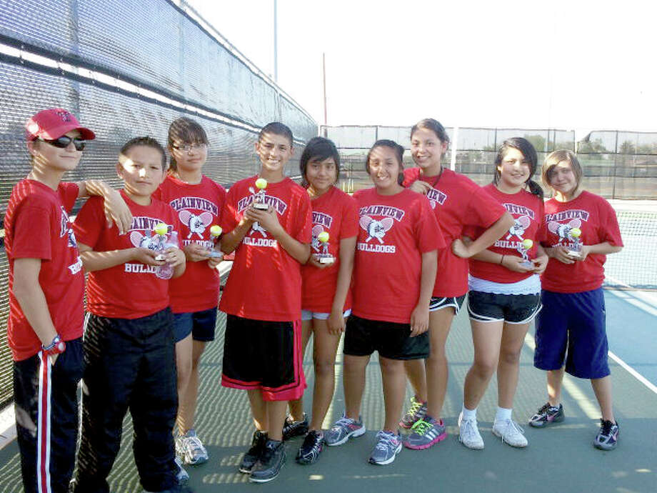 The Plainview junior high tennis team competed Saturday in Dumas. Players earning trophies were (from left): Glen Fikes and Jose Cuellar, first in consolation bracket in boys B doubles draw; Natalie Marin and Dylan Flores, second in mixed doubles B draw; Lizette Najera, second in the girls singles B division; Angelica Sena and Aris Samarripa, first in girls doubles A division; Hannah Flores and Aalazah Gonzalez, first in consolation bracket in girls doubles B division.