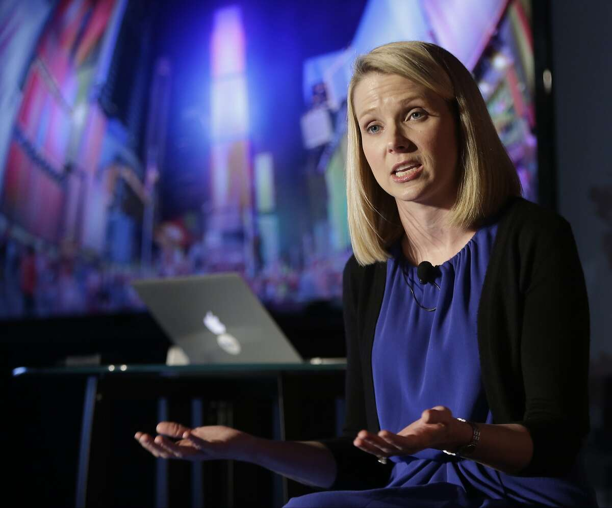 FILE - In this Monday, May 20, 2013, file photo, Yahoo CEO Marissa Mayer speaks during a news conference in New York. On Monday, July 25, 2016, Verizon formally announced that it is buying Yahoo for $4.83 billion, marking the end of an era for a company that once defined the internet. (AP Photo/Frank Franklin II, File)