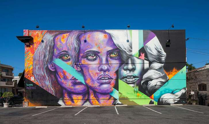 Mural by Hueman and Mark Paul Deren (aka Madsteez) for POW! WOW! Long Beach 2015.