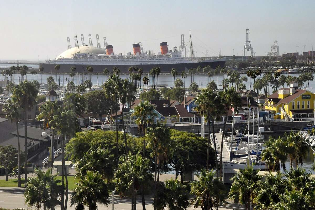 View of Long Beach from the Hyatt Regency over Rainbow Harbor Village.