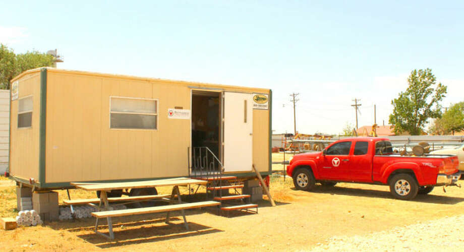 A mobile home is serving as a temporary satellite office in Lockney for Pettigrew & Associates. The Hobbs, N.M., firm is involved in the Xcel Energy transmission line project that originates at Tuco substation.