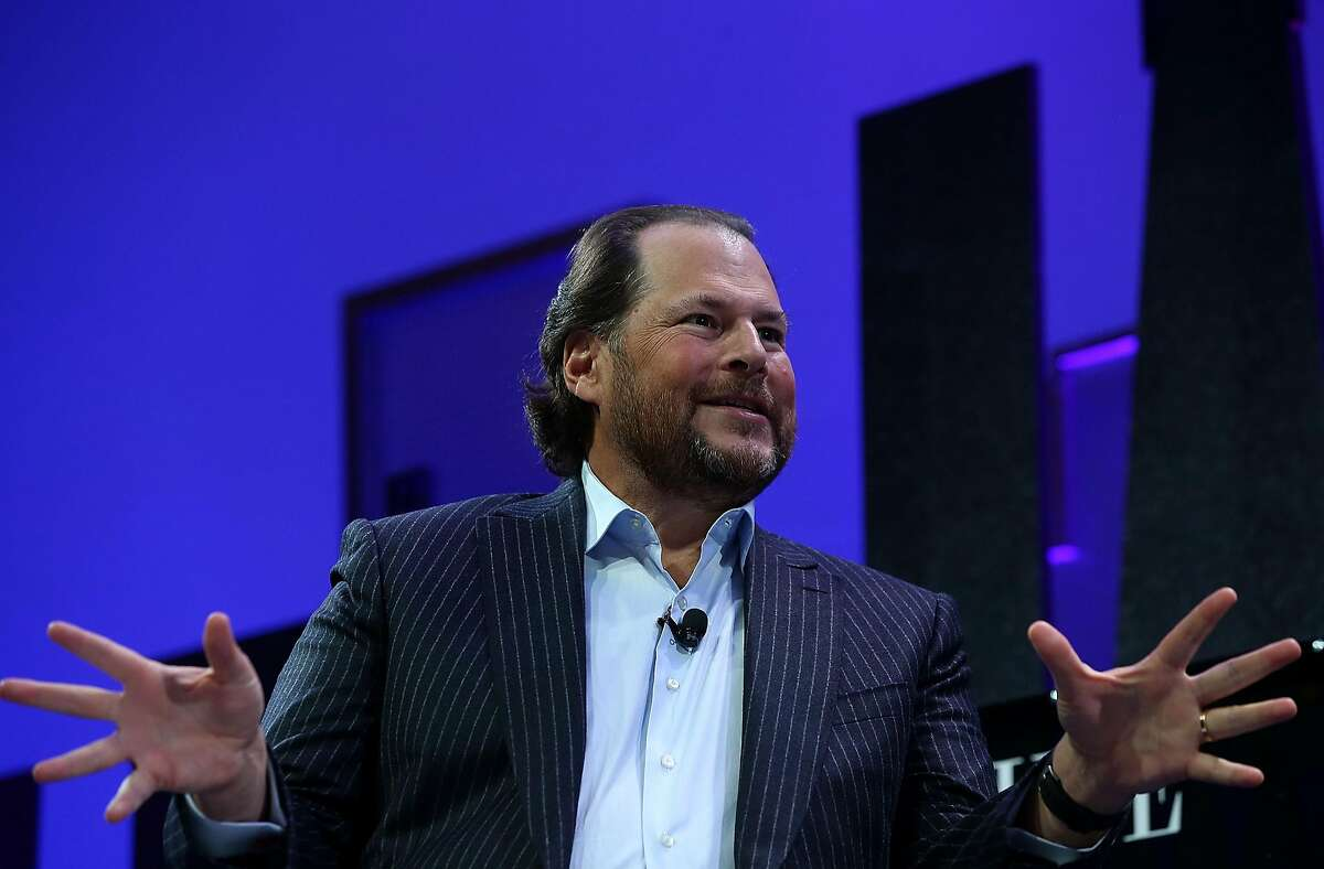 SAN FRANCISCO, CA - NOVEMBER 03: Salesforce chairman and CEO Marc Benioff speaks during the Fortune Global Forum on November 3, 2015 in San Francisco, California. Business leaders are attending the Fortune Global Forum that runs through November 4. (Photo by Justin Sullivan/Getty Images)