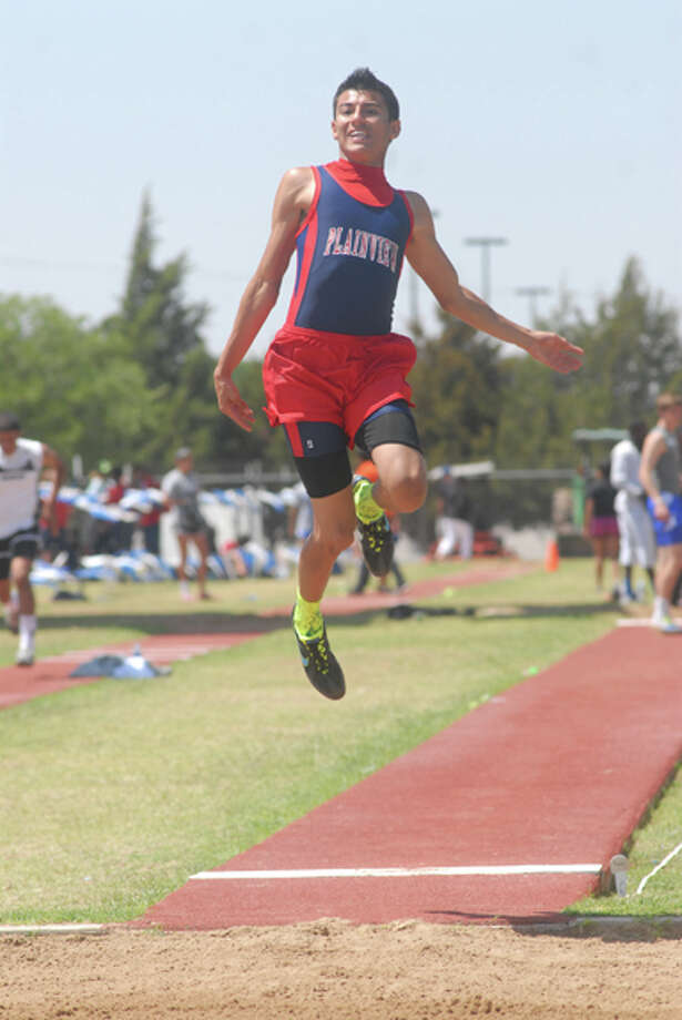 In addition to running on the boys 400, 800 and 1,600 meter relay teams, Plainview's Chris Salazar took fifth in the long jump at the District 3-4A meet two weeks ago. Salazar and six of his PHS teammates will be competing in the regional meet this weekend at Abilene Christian University. Photo: Summer Morgan/Plainview Herald