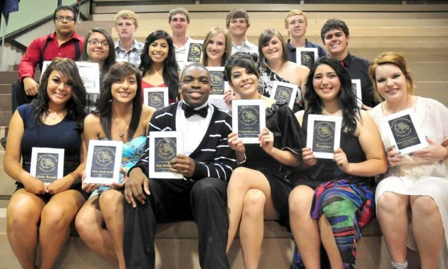 Summer Morgan/Plainview HeraldPHS Top Dog award winners for 2011-12: (top row, left to right) Angelo Samarripa (powerlifting), Jeremy Brush (tennis), Matt Jolly (golf), Thomas Wirth (golf), Chance Rollins (baseball); (middle) Aubrey Enriquez (softball), Michelle Portillo (volleyball), Haley Raymond (golf), Ashley Mize (powerlifting), Trent Walker (football); (bottom) Alyssia Ceniceros (tennis), Laura Castillo (basketball), Quaveien Thomas (basketball), Sarah Patrick (cheerleading), Jensen Juarez (athletic training) and Halley Hatch (academics). Not pictured: Zach Subealdea (academics), Eli Corona (cross country), Daisy Guerrero (cross country and track) and Kendrick Fennell (track, Terence Toler Scholarship).