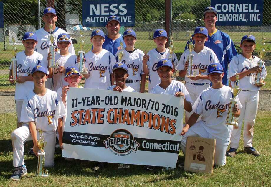 The 11U Brookfield Barracudas Cal Ripken team captured the state championship for the second straight year with a 13-5 victory over runner-up New Milford on Saturday.Brookfield went 4-0 in the tournament. Team members include, front row, from left, Kyle Rosa, Matt Guilbeault, Cameron Cole, Connor Chnowski and Ryan Sanborn; middle row, from left, Aidan Sarmiere, Caden Borges, Jacob Conway, Dimitry Yates, Chris Catania, Casey Katz and Jake Miceli; back row, coaches Pete Rosa, Rocco Miceli and Craig Katz. Photo: Contributed Photo / Contributed photo