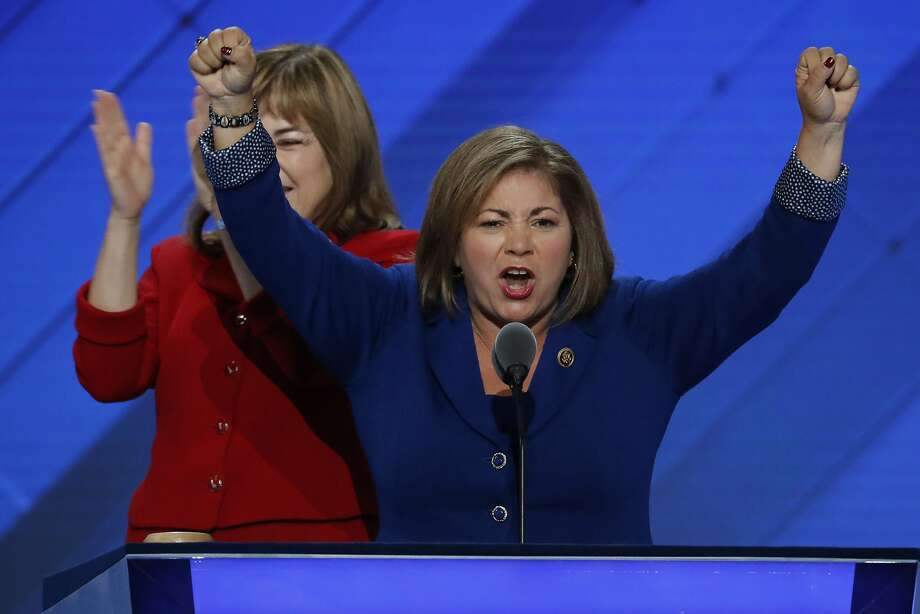 Rep. Linda Sanchez, D-Calif., speaks during the first day of the Democratic National Convention in Philadelphia , Monday, July 25, 2016. REp. Sanchez's sister Loretta Sanchez is in the background. (AP Photo/J. Scott Applewhite) Photo: J. Scott Applewhite, Associated Press