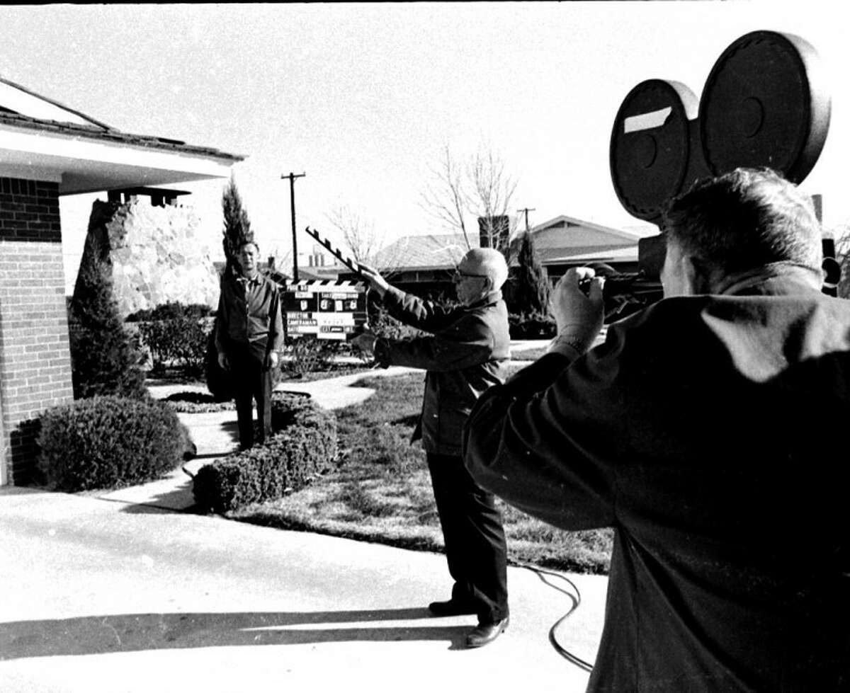 """Herald File PhotoWith builder Jay Swayze introducing himself, his underground Atomitat home and Plainview, a camera crew from Dallas Tele-News films footage for the U.S. Information Agency in December 1966. The program for Arabic countries was part of a TV series designed to promote international relations. Director Joy Royster of Washington, D.C., said the film would help illustrate """"that people don't have to live on top of the ground to live comfortably, and that Americans have proved their ingenuity in home design."""""""