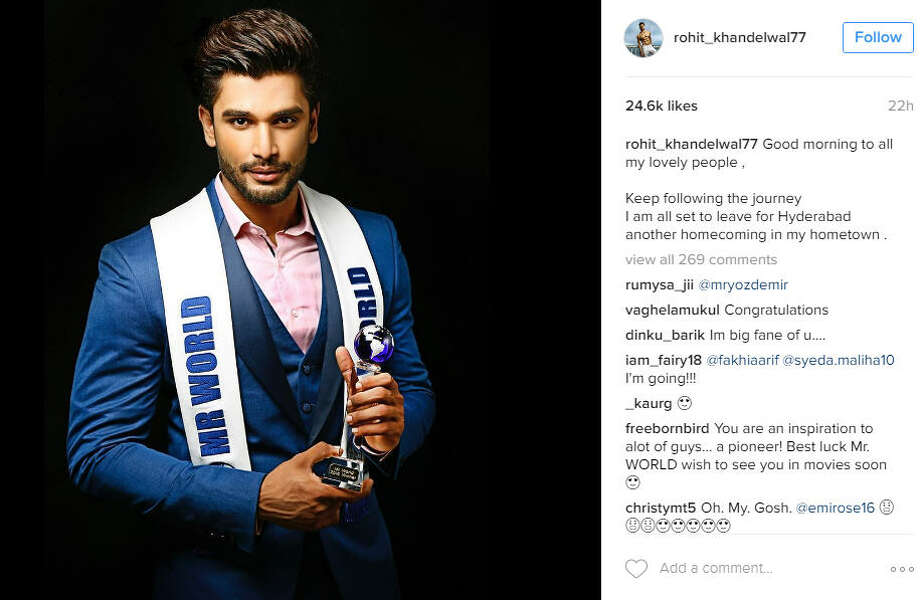 Rohit Khandelwal is the 2016 winner of the Mr. World competition and beat out 46 international models for the title.Source: Instagram Photo: Instagram / Rohit Khandelwal