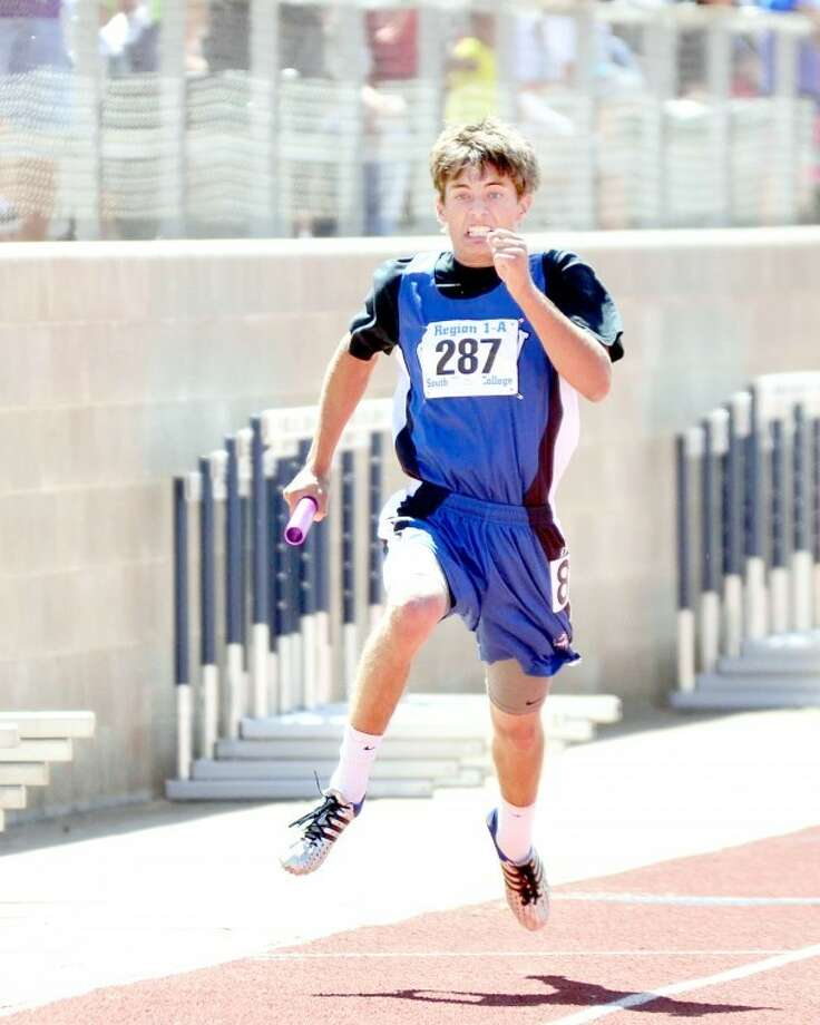 Kade Riney of Olton focuses on the finish line as he runs in the 400 relay at Class 1A regional meet on Friday at South Plains College in Levelland. Photo: Albert Gomez