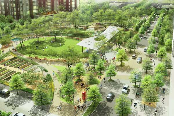 The Office of James Burnett, a landscape architecture firm that began in Houston, has dramatically re-designed Levy Park in the Upper Kirby District. The revitalized six-acre park will include a pavilion for live performances, a large play area with an overlook deck, water features, a dog park and a community garden. Operations and maintenance will be supported by funds from the ground lease of two new, adjacent buildings developed by Midway Companies.