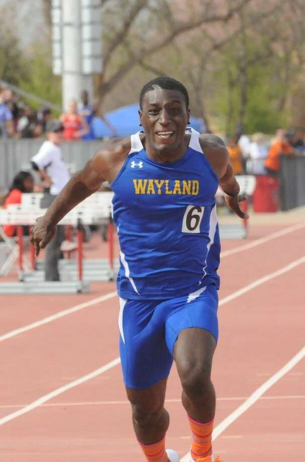 Wayland Baptist senior sprinter Gregory Turner torches the finishing line during the weekend's NAIA National Championship. Turner took the national title in the men's 200-meter and ran the third leg with the 4x400 relay squad, who also won the title. Photo: Wayland Baptist University Photo