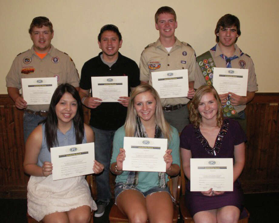 Honored at Thursday's Plainview Kiwanis Club meeting were seven graduating seniors from Plainview and Hale Center high schools. Honored seniors and the scholarships they received are Jocelyn Galvan (front left), Bob Hilburn Memorial Scholarship; Maranda Ball, James Frazier Memorial Scholarship; Shannon Switzenberg, Clay Warren Lubbock Area Foundation Scholarship; Sam DeMerritt (back, left), Eagle Scout; Edgar Hernandez, Clay Warren Spirit of Encouragement; Ryan Bowen, Reese Masten Memorial Scholarship and Eagle Scout; and Christian Givens, Eagle Scout. Photo: Courtesy Photo