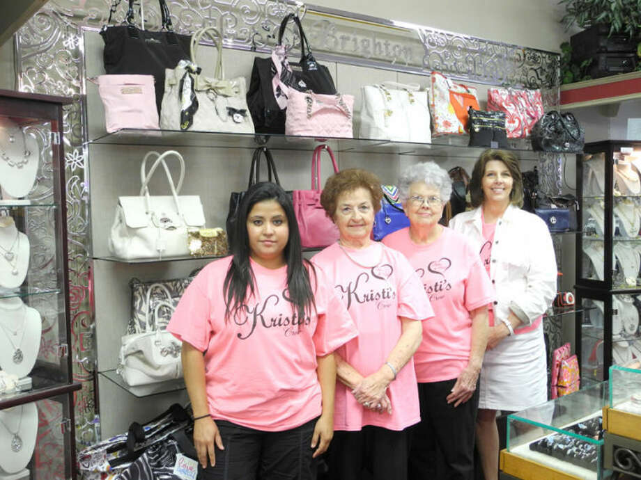 Gail Williams/Plainview HeraldConnie Jimenez (left), store owner Wanda Mason, Hallie Boggs and manager Kristi Killion stand in front of the Brighton collection at Kristi's. Generations have shopped at the upscale retailer since Killion's grandmother, Louise Cook, bought the store in the mid-1940s. Mason and her daughter Killion are retiring and offering merchandise at deep discounts. The store is for sale.
