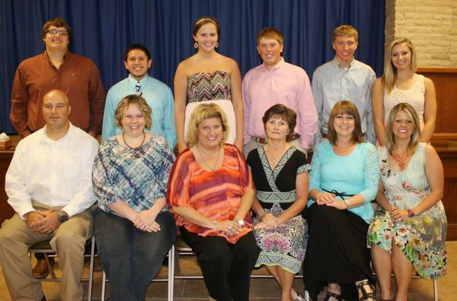 Honor graduates standing behind their inspirational teachers are Jacob King (standing left) with Jodie LaFrance (seated left); Edgar Hernandez with Michelle Pittman; Bailey Davis with Alissa Carter; Layton Schur with Linda Ray; Trent Kinkaid with Melody Hoglan; and Maranda Ball with Shelley Faught. Photo: Jan Seago/Plainview ISD
