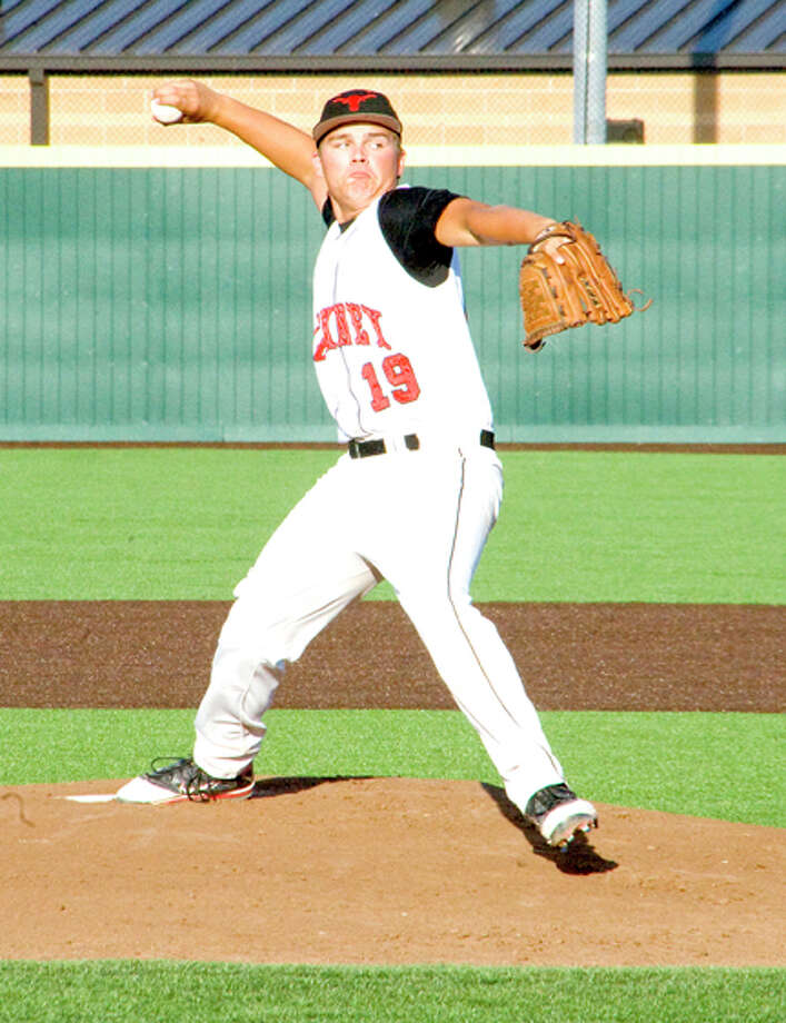 James Barrington/Canyon NewsLandry Kidd pitches in Thursday's Class 1A bi-district game against West Texas High at West Texas A&M's Wilder Park in Canyon. Game 2 is at the same field at 5 p.m. today with a third game, if necessary, to follow.