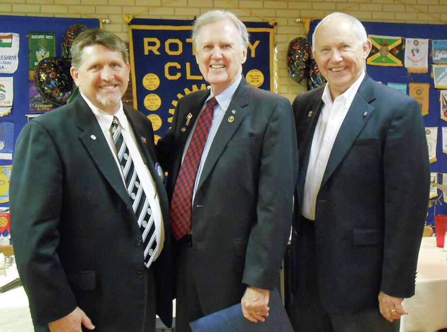 From left to right: New Rotary President Dave Kopp, Past District Gov. J.B. Roberts and District Gov. Ken Patterson Photo: Courtesy Photo