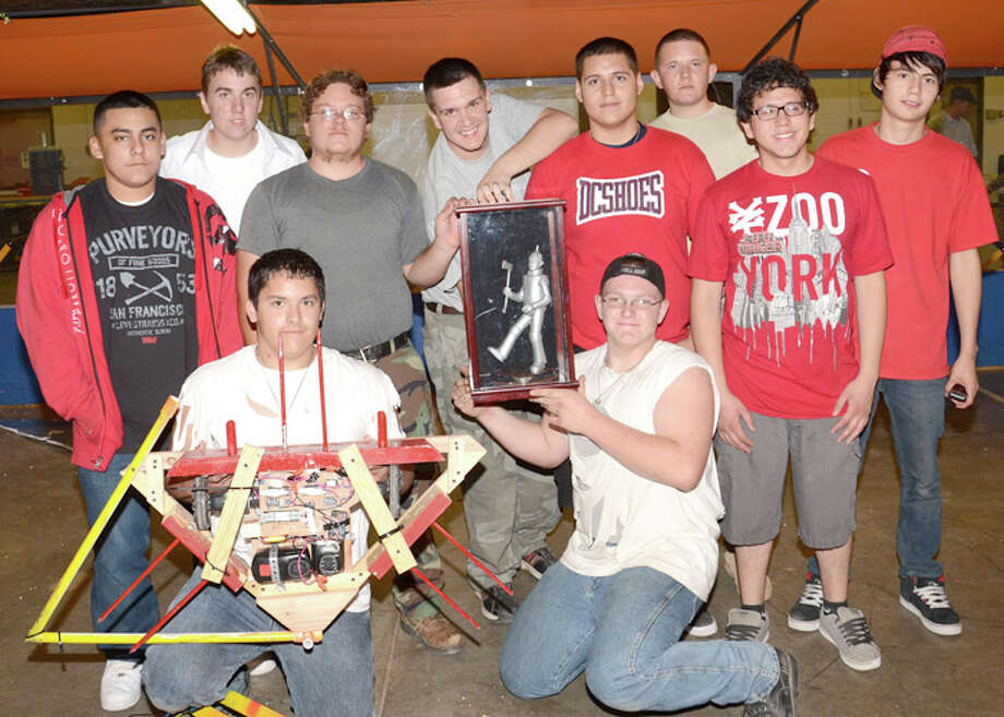 Wes Underwood/South Plains CollegeThe robotics teams from Plainview High School claimed the Tin Man VIII competition held recently at South Plains College. Shown are Trae Griego (front left), Grant Ratliff, Jacob Grimaldo (center left), Brett Ferguson, Christian Valles, Edgar Hernandez, David Barkley (back left), Taylor McCasland, David Bolding and Edgar Arellano.