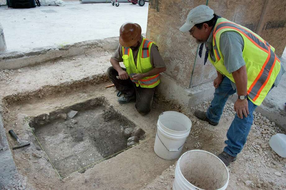 Archaeologists conducting investigative digs in Alamo Plaza on Monday reported uncovering part of an adobe wall, a link to the Spanish colonial period, in the southwest corner of the plaza. Photo: Texas General Land Office, Courtesy / Texas General Land Office / Texas General Land Office