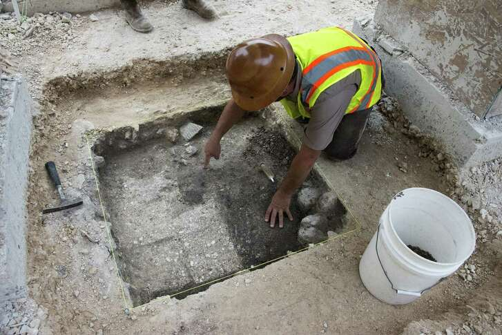 Archaeologists conducting investigative digs in Alamo Plaza on in 2016 reported uncovering part of an adobe wall, a link to the Spanish colonial period, in the southwest corner of the plaza.