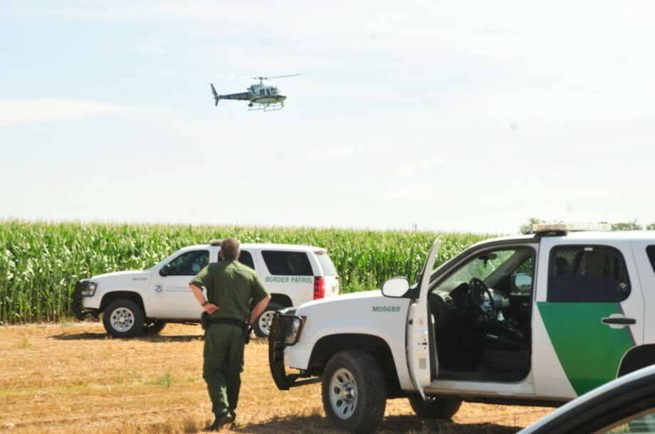Border Patrol officers and a Texas DPS helicopter search for six men who attempted to evade arrest in a cornfield about three miles east of Lockney on Tuesday. Photo: Homer Marquez/Plainview Herald