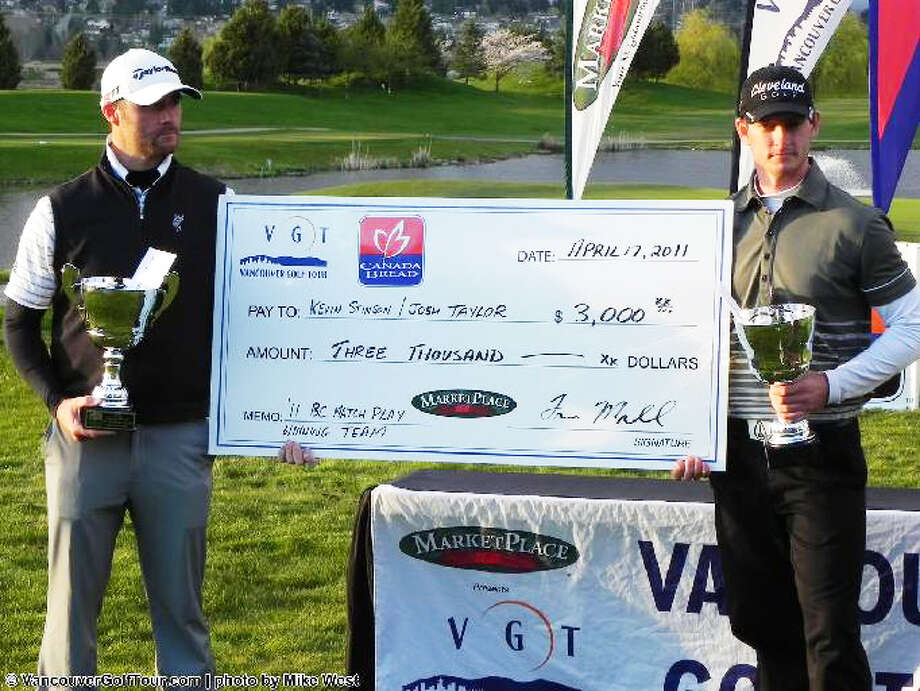 Former Pioneer golfer Kevin Stinson (right) poses with a check at an event in 2011. Stinson is currently playing on the PGA Tour Canada. Photo: Photo Courtesy Of Mike West