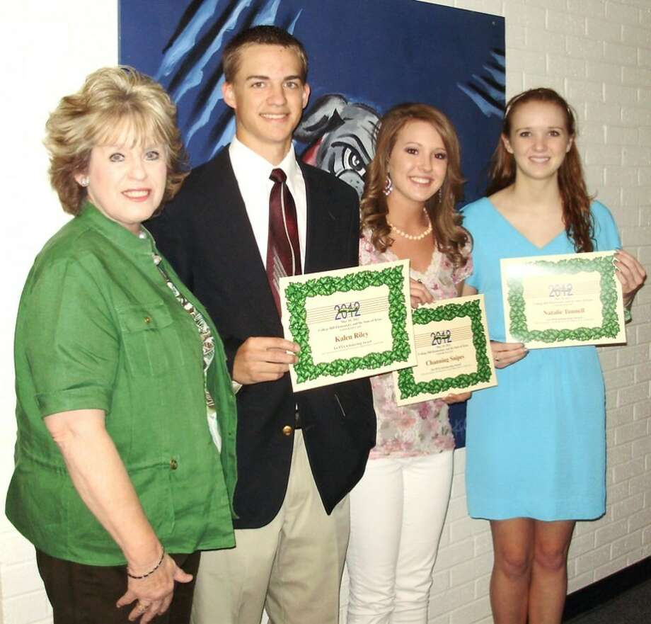 Courtesy PhotoThree Plainview High School graduating seniors were awarded College Hill PTA scholarships at the end-of-the-year PTA program Thursday night. Principal Linda Watson (left) presented scholarships to Kalen Riley, Channing Snipes and Natalie Tunnell, all former College Hill students.