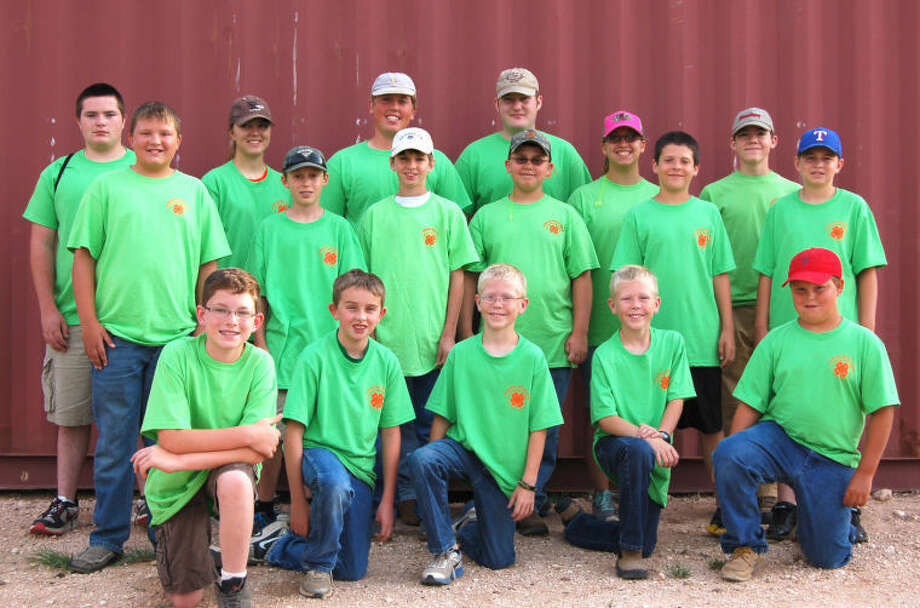 Courtesy PhotoSeventeen Hale County 4-H members competed in the 4-H District Trap Shoot on June 28 at Brownfield. Participants include Craig Schuler (front left), junior; Ryan Walden, 3rd, Class B junior; Colby Scott, junior; Colton Scott, fifth, Class A junior; Blaise White, second, Class C junior; Zach McDonough (middle left), intermediate; Wellington Moore, intermediate; Caleb Lusk, fourth, Class A junior; Cord Brown, 10th intermediate; Brandon Ballard, junior; Brennon Ballard, intermediate; Taylor Bain (back left), senior; Heather Bozeman, senior; Layton Schur, senior, 25-straight patch; Ty Bain, senior; Melody Brown, intermediate; and Ben Bozeman, intermediate.