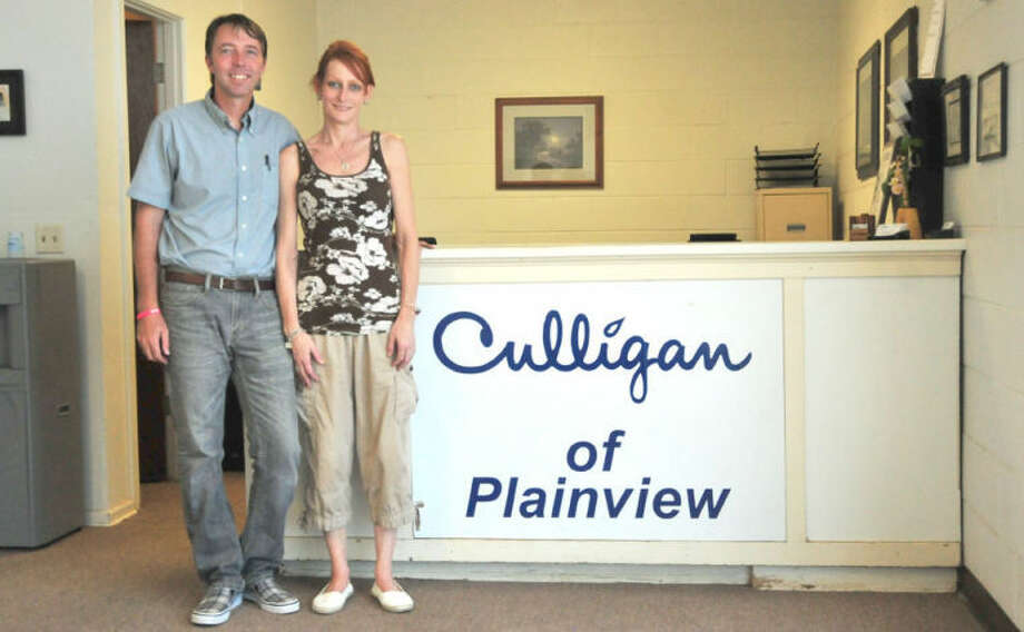 Jay and Stephanie Gannaway are the owners of Plainview Water Solutions at 3408 Olton Road. Photo:  Homer Marquez/Plainview Herald