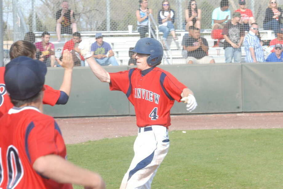 Will Bass, shown celebrating after scoring a run in a game against San Angelo Lake View this past season, was voted to the Texas Sports Writers Association's all-state third team as a second baseman. Photo: Homer Marquez/Plainview Herald