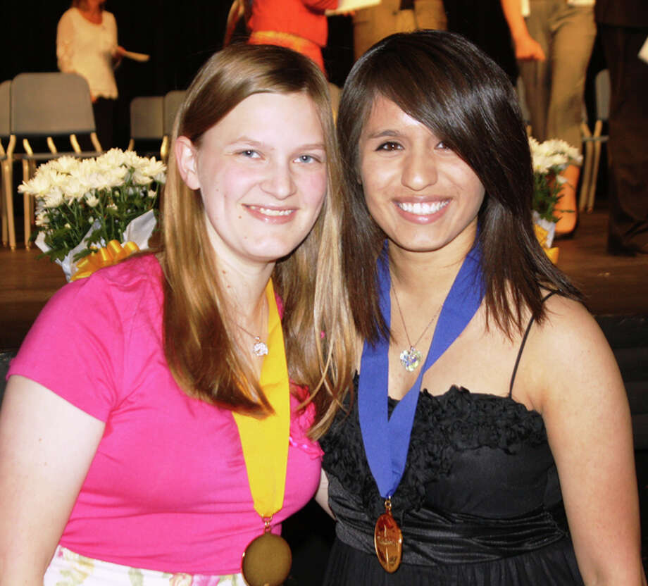 Jan Seago/Plainview ISDDesiree Villarreal (right) was honored as valedictorian and Rebecca Owens (left) as salutatorian of the Plainview High Class of 2012 at Monday's academic awards ceremony.
