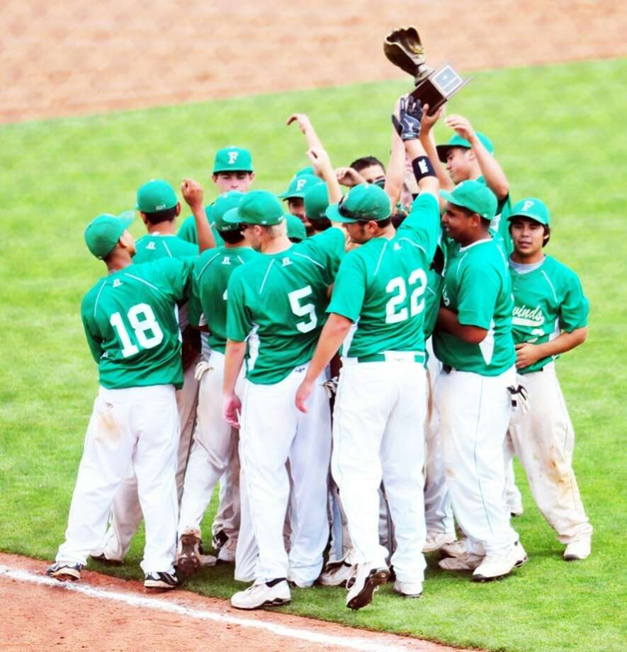 The Floydada baseball team celebrates after defeating Forsan 9-3 in the area round last weekend to qualify for the regional quarterfinals for the first time in the program's history. The Whirlwinds will take on Bushland in a best-of-three series at West Texas A&M University's Wilder Park. Game 1 is at 7:30 tonight with Saturday's Game 2 starting at 1 p.m.